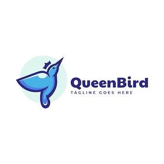 Векторная иллюстрация логотипа королева птиц стиле простой талисман