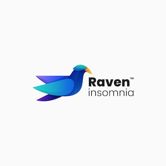 Vector logo illustration raven gradient colorful style