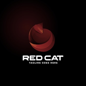 Vector logo illustration red cat gradient colorful style