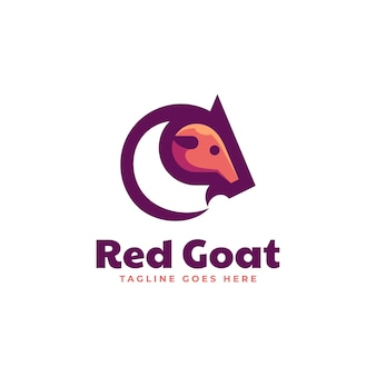 Vector logo illustration red goat simple mascot style