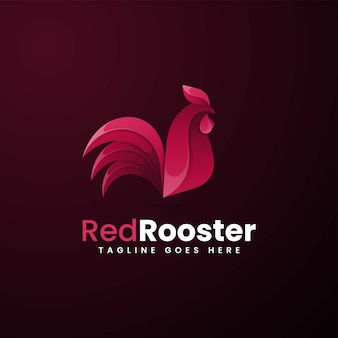 Vector logo illustration red rooster gradient colorful style