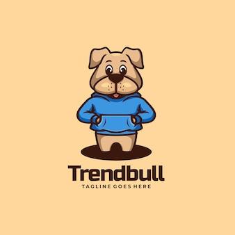 Vector logo illustration rend bull mascot cartoon style.