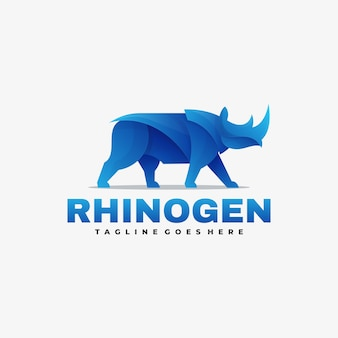Vector logo illustration rhino gradient colorful style