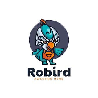 Vector logo illustration robot bird mascot cartoon style