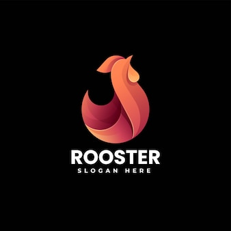 Vector logo illustration rooster gradient colorful style