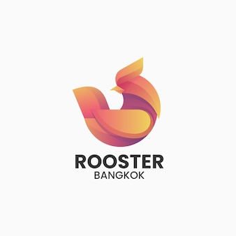 Vector logo illustration rooster gradient colorful style.