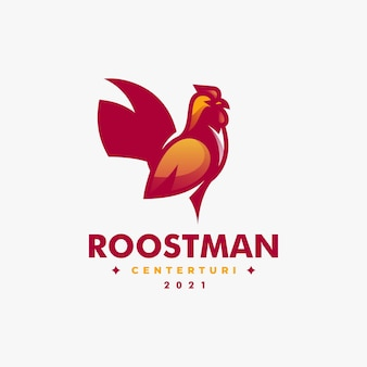 Vector logo illustration rooster simple mascot style