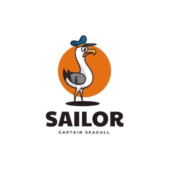 Vector logo illustration sailor heron simple mascot style