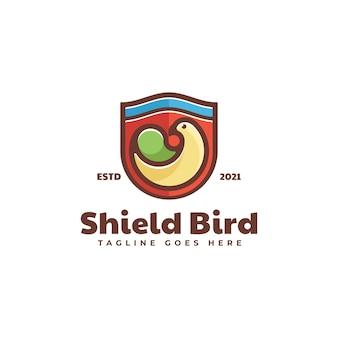 Векторная иллюстрация логотипа щит птиц стиль двойного смысла