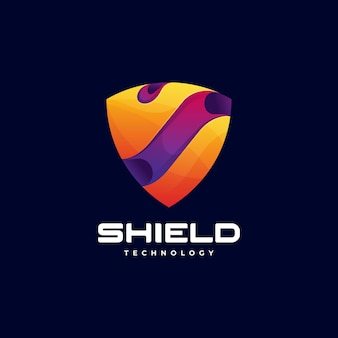 Vector logo illustration shield gradient colorful style