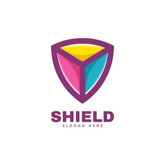 Векторные иллюстрации логотип щит стиль простой талисман.