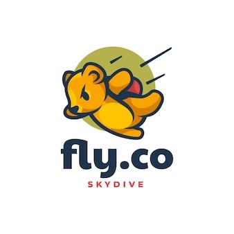 Vector logo illustration skydiving bear mascot cartoon style