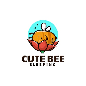 Vector logo illustration sleeping bee mascot cartoon style