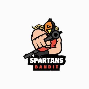 Векторная иллюстрация логотипа спартанский бандит e спорт и спортивный стиль