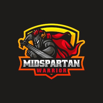 Векторная иллюстрация логотипа спартанский воин e спорт и спортивный стиль
