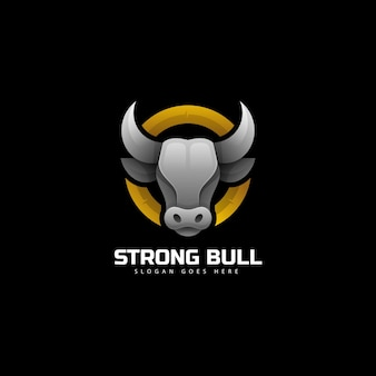 Vector logo illustration strong bull gradient colorful style