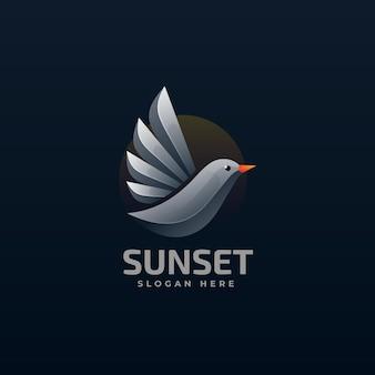 Vector logo illustration sunset bird gradient colorful style