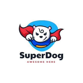 Vector logo illustration super dog mascot cartoon style