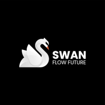 Векторная иллюстрация логотипа лебедь градиент красочный стиль.