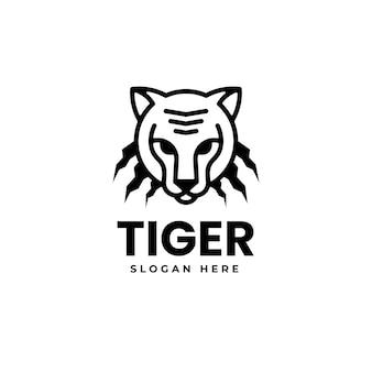 Vector logo illustration tiger line art style