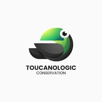Vector logo illustration toucan gradient colorful style