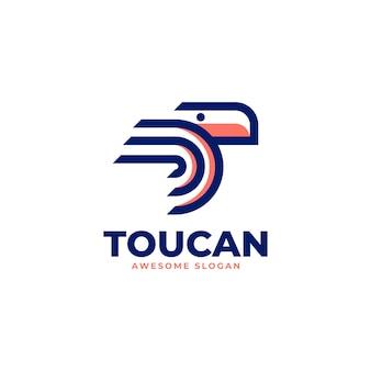 Векторная иллюстрация логотипа стиле линии тукана