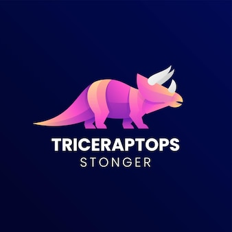 Vector logo illustration triceratops gradient colorful style
