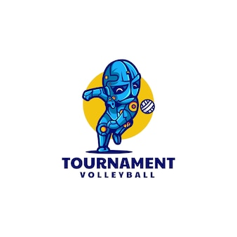 Vector logo illustration volleyball tournament simple mascot style