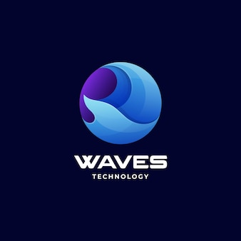 Vector logo illustration wave gradient colorful style