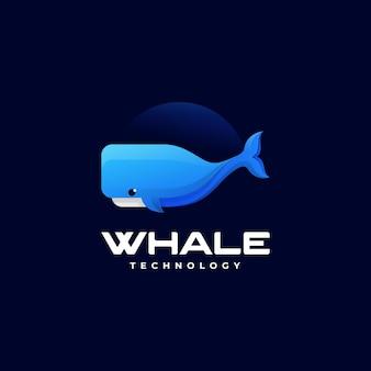 Векторная иллюстрация логотипа кит градиент красочный стиль