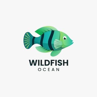Vector logo illustration wild fish gradient colorful style
