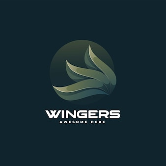 Vector logo illustration wings gradient colorful style