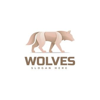 Векторная иллюстрация логотипа волк градиентом красочный стиль