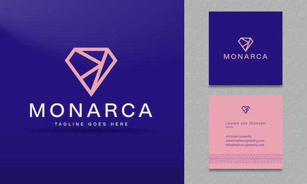 Vector logo for jewelry with stylized diamond
