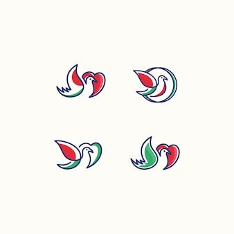 ベクトルロゴ愛の鳥のアイコンラインアートの絵