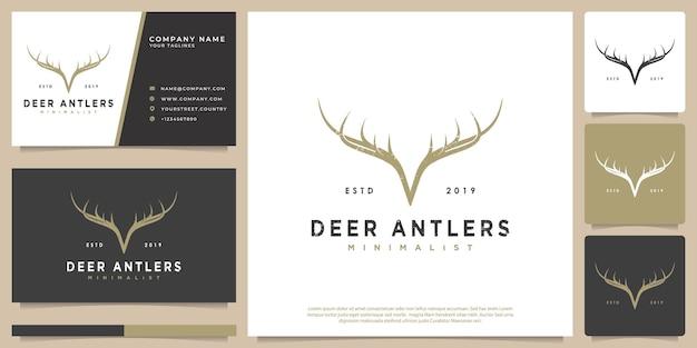ヴィンテージ流行に敏感な鹿の角のベクトルのロゴ