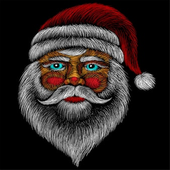 The vector logo santa claus head for tattoo or t-shirt design or outwear.