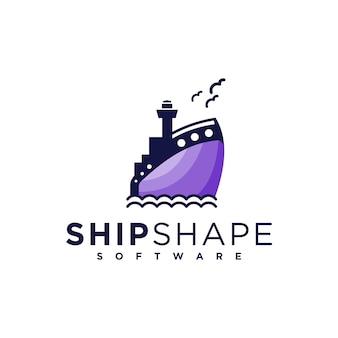 Векторный логотип корабль концепция creative