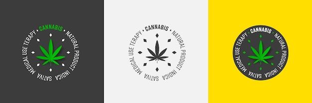 마리화나 천연 제품 도심의 잎이 있는 벡터 로고 템플릿