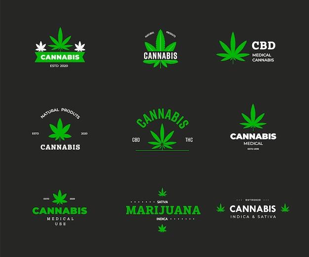 유기농 대마초 sbd와 thc가 있는 벡터 로고 템플릿. 마리화나 잎 그래픽 레이블입니다. 의료용 녹색 인디카 및 사티바의 아이콘 및 상징 디자인