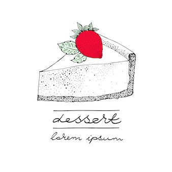 Vector logo template with a piece of cake with a berry