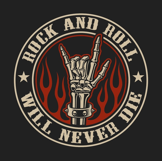Vector logo with rock hand sign in fire on the dark background.