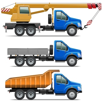 Vector lorry icons set 3 isolated on white background