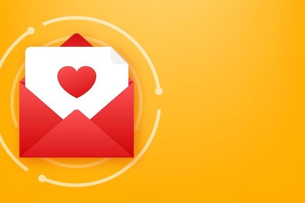 ベクトル愛アイコン赤い封筒。ロマンチックな封筒。封筒のメッセージレター。ベクトルイラスト。