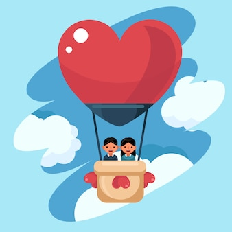 Vector of love and valentine's day, young couple lover in the air balloon. honeymoon tour
