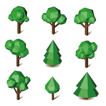 Vector low poly green triangle pixel tree set