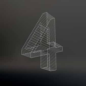 Vector low poly numbers font. polygon number alphabet. vector illustration.
