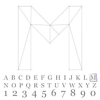 벡터 낮은 폴리 숫자 글꼴입니다. 다각형 숫자 알파벳입니다. 벡터 일러스트 레이 션.