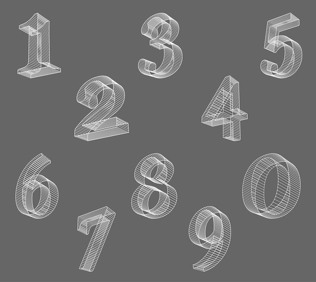 Vector low poly (wired) numbers font. set polygon number alphabet. vector illustration.