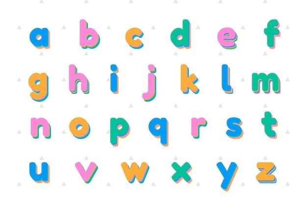 Set di lettere minuscole vettoriali